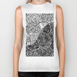 Modern black white color block inverted mandala floral hand drawn illustration Biker Tank