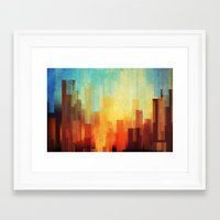 photo Framed Art Prints featuring Urban sunset by SensualPatterns