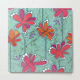AfricanFabric inspired Flowers on Turquoise Metal Print