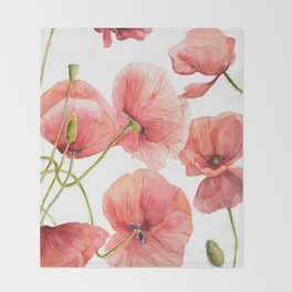 Red Poppies Bright Sunlight, Big Beautiful Red Flowers Throw Blanket