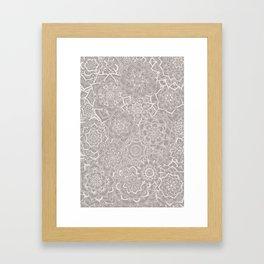 Delicate Lace Mandala Pattern (Grey/Cream) Framed Art Print