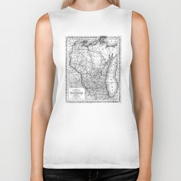 Vintage Map of Wisconsin (1859) BW Biker Tank