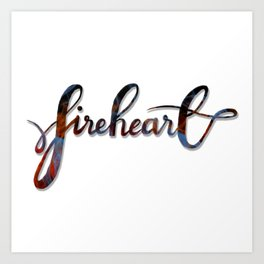 FIREHEART with flames Art Print
