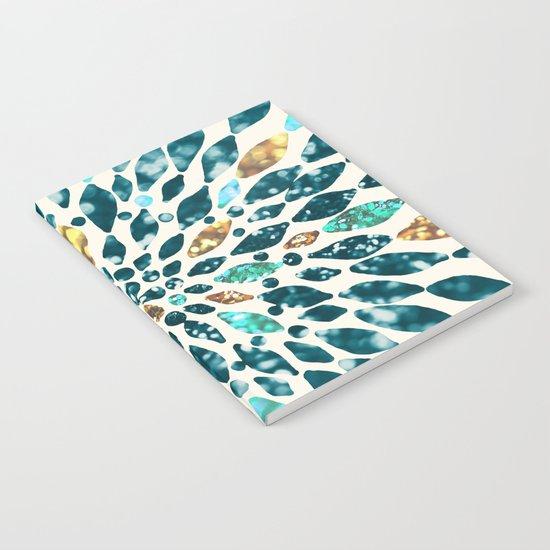 Glitter Dahlia in Gold, Aqua and Ocean Green Notebook