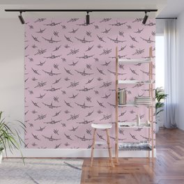 Airplanes on Light Pink Wall Mural