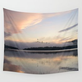 Lifting Up: Geese Rise at Dawn on Lake George Wall Tapestry