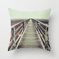 cape cod Throw Pillows featuring Gray's Beach Cape Cod by marie grady palcic