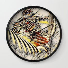 1177s-AK Erotica in the Style of Kandinsky Fingers on Pubis Striped Nude Wall Clock