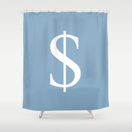 dollar sign on placid blue color background Shower Curtain