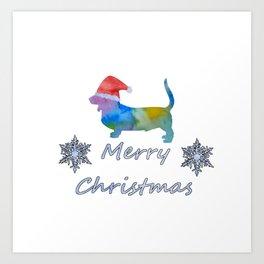 Santa basset Art Print
