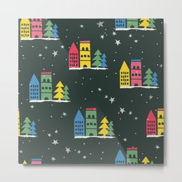 Cute Christmas Houses trees & Stars Seamless Pattern Metal Print