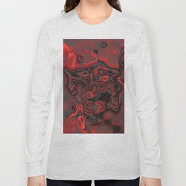 Red Dominant Gesmstone Pattern Long Sleeve T-shirt