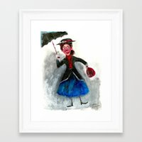 mary poppins Framed Art Prints featuring Mary Poppins by Damian Alexander