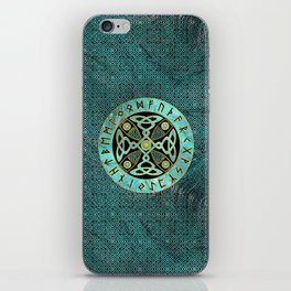 Decorative Celtic Cross  - and Runes alphabet iPhone Skin