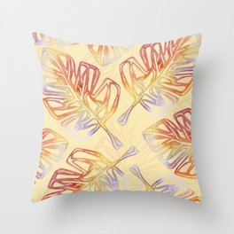 Autumn Leaves with trim on Buttercream - from the Lilac Buttercup colour palette collecti Throw Pillow
