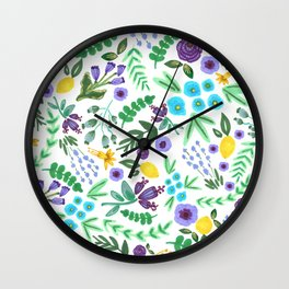 Lavender and Lemons Wall Clock