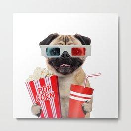 Pug watching a movie Metal Print