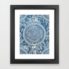Diamond and Doodle Mandala On Blue Framed Art Print