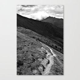 narrow hiking path alps serfaus fiss ladis tyrol austria europe black white Canvas Print