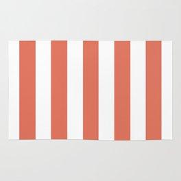 Terra cotta pink - solid color - white vertical lines pattern Rug
