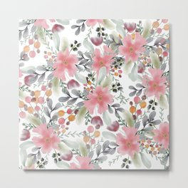 Modern girly pink floral watercolor botanical pattern  Metal Print