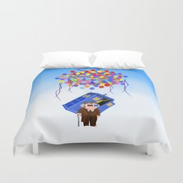 Cute Old 10th doctor who with flaying tardis iPhone 4 4s 5 5c 6, pillow case, mugs and tshirt Duvet Cover