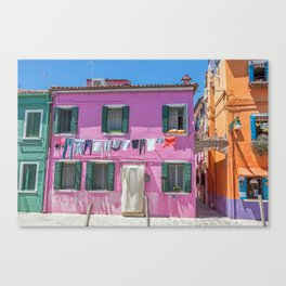 Pink house in Burano, Italy Canvas Print