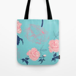 Vintage roses and peonies with indigo palette Tote Bag