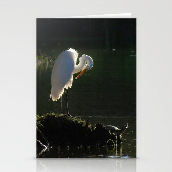 Egret at Evening Stationery Cards