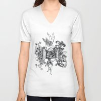 angels V-neck T-shirts featuring Angels by LinnaDesign