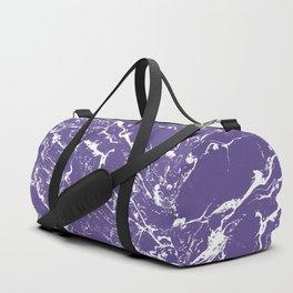 Modern trendy purple ultra violet  white marble  pattern Duffle Bag