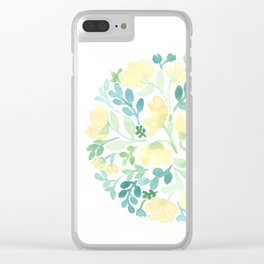 Yellow and Blue Floral Circle Clear iPhone Case