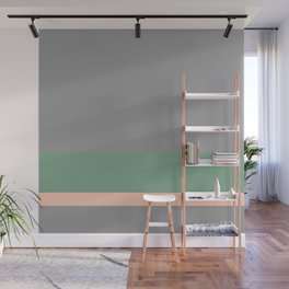 Solid Gray w/ Green and Pastel Orange Divider Lines - Abstract #ArtofGanenK Wall Mural