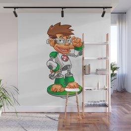 Cartoon Monkey Nerd robot Wall Mural