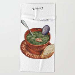 La Cuisine Fusion - Mussels with Caldo Verde Beach Towel