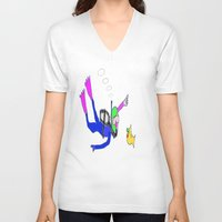 yellow submarine V-neck T-shirts featuring underneath the yellow submarine by Davey Charles