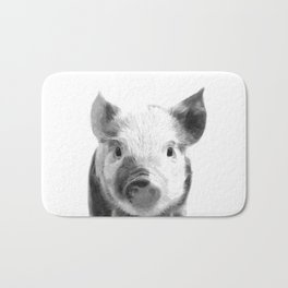 Black and white pig portrait Bath Mat
