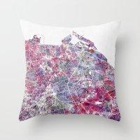 edinburgh Throw Pillows featuring Edinburgh Map by MapMapMaps.Watercolors