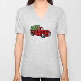 New Christmas Merry Christmas Buffalo Plaid Pickup Truck Unisex V-Neck