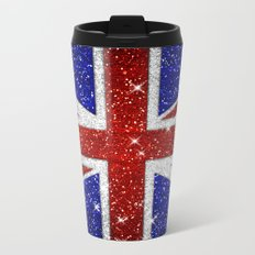 Glitters Shiny Sparkle Union Jack Flag Metal Travel Mug