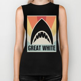Vintage GREAT WHITE Shark Poster Biker Tank