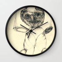 teddy bear Wall Clocks featuring Teddy bear by Attila Hegedus
