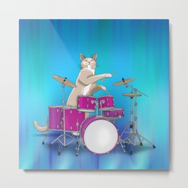 Cat Playing Drums - Blue Metal Print
