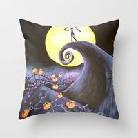 nightmare before christmas Throw Pillows featuring Nightmare Before Christmas by Leslie Creveling