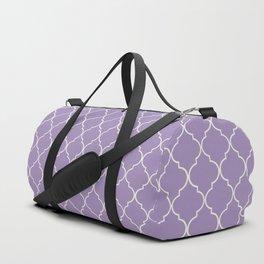 Quatrefoil Kismet Lilac Moroccan Ogee Pattern Duffle Bag