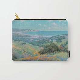 Malibu Coast, California with wild poppies floral seascape painting by Granville Redmond Carry-All Pouch