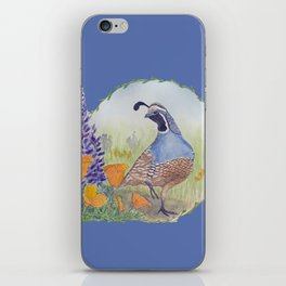 California Quail with Poppies and Lupine on Blue iPhone Skin