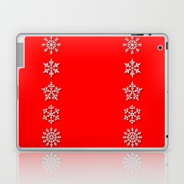 Five Different White Snowflakes in a Row on a Red Background Laptop & iPad Skin