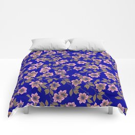 Abstract blush pink brown sky blue flowers Comforters