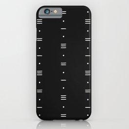 Dashes & Dots - Minimalist Line Pattern - Black iPhone Case